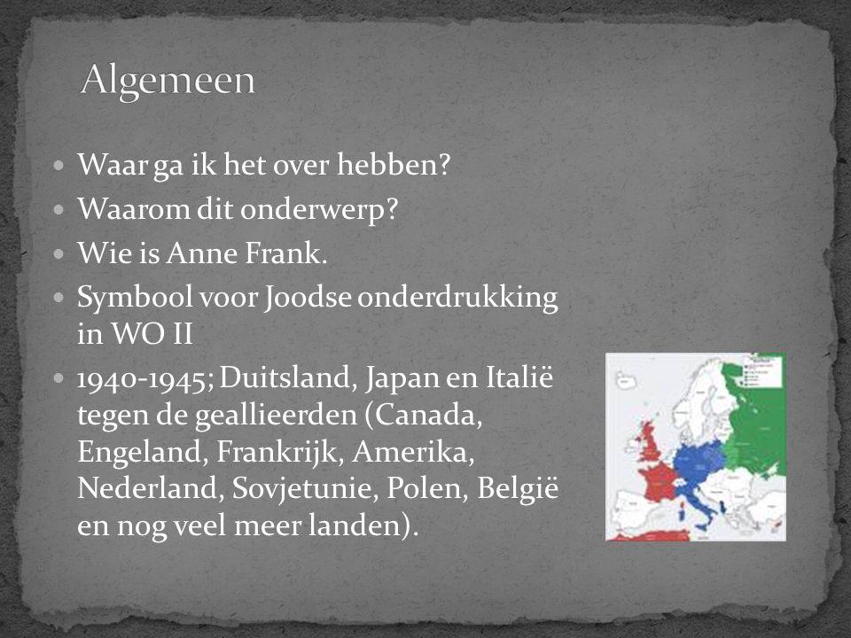 Waar ga ik het over hebben? Waarom dit onderwerp? Wie is Anne Frank. Symbool voor Joodse onderdrukking in WO II 1940-1945; Duitsland, Japan en Italië