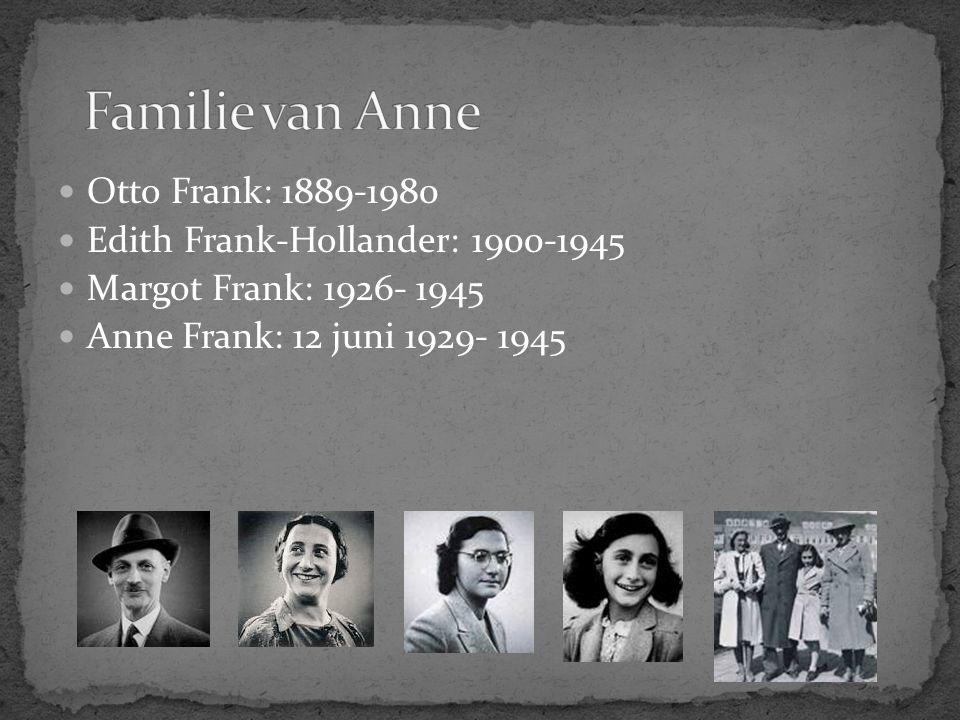 Otto Frank: 1889-1980 Edith Frank-Hollander: 1900-1945 Margot Frank: 1926- 1945 Anne Frank: 12 juni 1929- 1945