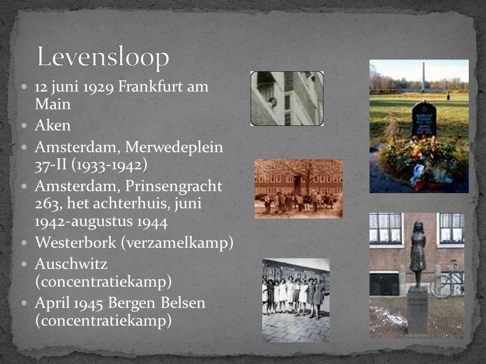 12 juni 1929 Frankfurt am Main Aken Amsterdam, Merwedeplein 37-II (1933-1942) Amsterdam, Prinsengracht 263, het achterhuis, juni 1942-augustus 1944 We