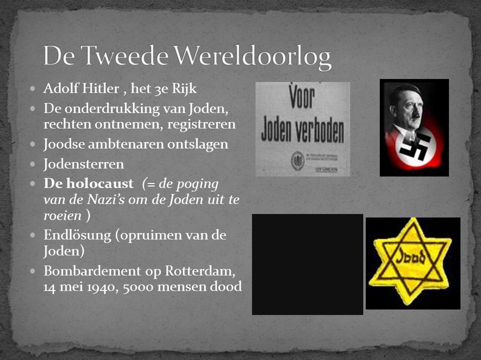 Adolf Hitler, het 3e Rijk De onderdrukking van Joden, rechten ontnemen, registreren Joodse ambtenaren ontslagen Jodensterren De holocaust (= de poging