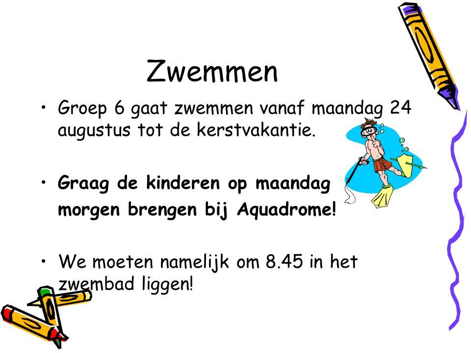 Zwemmen Groep 6 gaat zwemmen vanaf maandag 24 augustus tot de kerstvakantie.