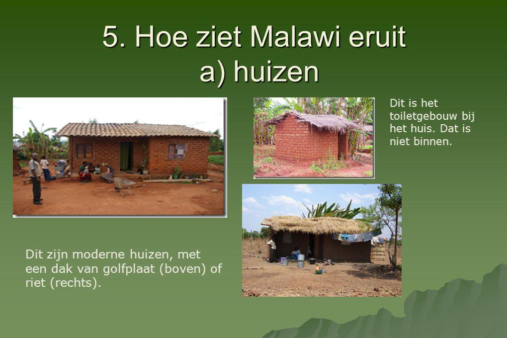 5. Hoe ziet Malawi eruit a) huizen Dit zijn moderne huizen, met een dak van golfplaat (boven) of riet (rechts). Dit is het toiletgebouw bij het huis.
