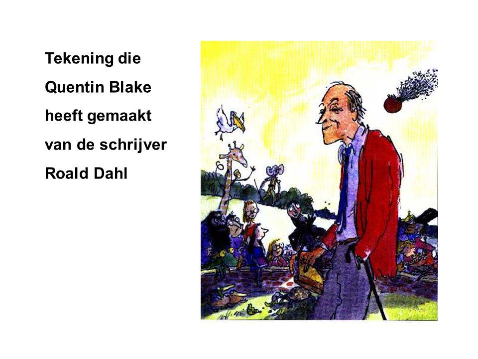 Tekening die Quentin Blake heeft gemaakt van de schrijver Roald Dahl