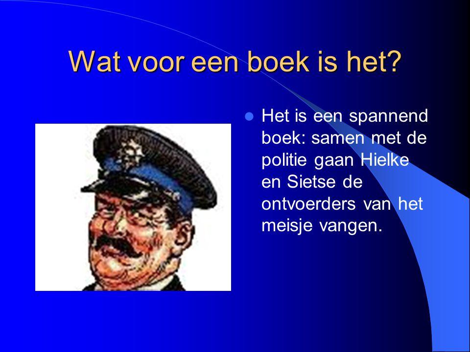 Wat voor een boek is het? Het is een spannend boek: samen met de politie gaan Hielke en Sietse de ontvoerders van het meisje vangen.
