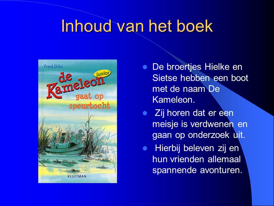Inhoud van het boek De broertjes Hielke en Sietse hebben een boot met de naam De Kameleon. Zij horen dat er een meisje is verdwenen en gaan op onderzo
