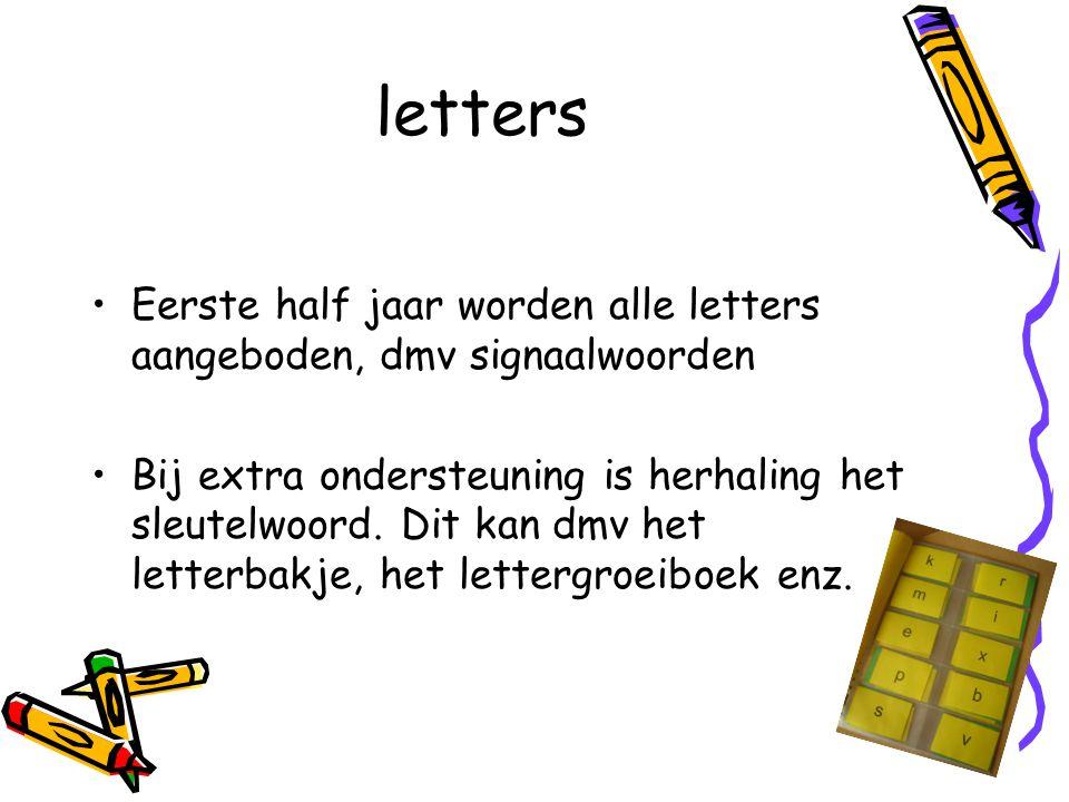 letters Eerste half jaar worden alle letters aangeboden, dmv signaalwoorden Bij extra ondersteuning is herhaling het sleutelwoord. Dit kan dmv het let