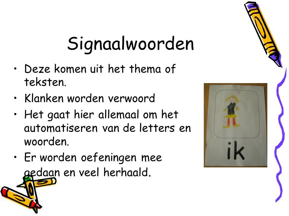 Signaalwoorden Deze komen uit het thema of teksten. Klanken worden verwoord Het gaat hier allemaal om het automatiseren van de letters en woorden. Er