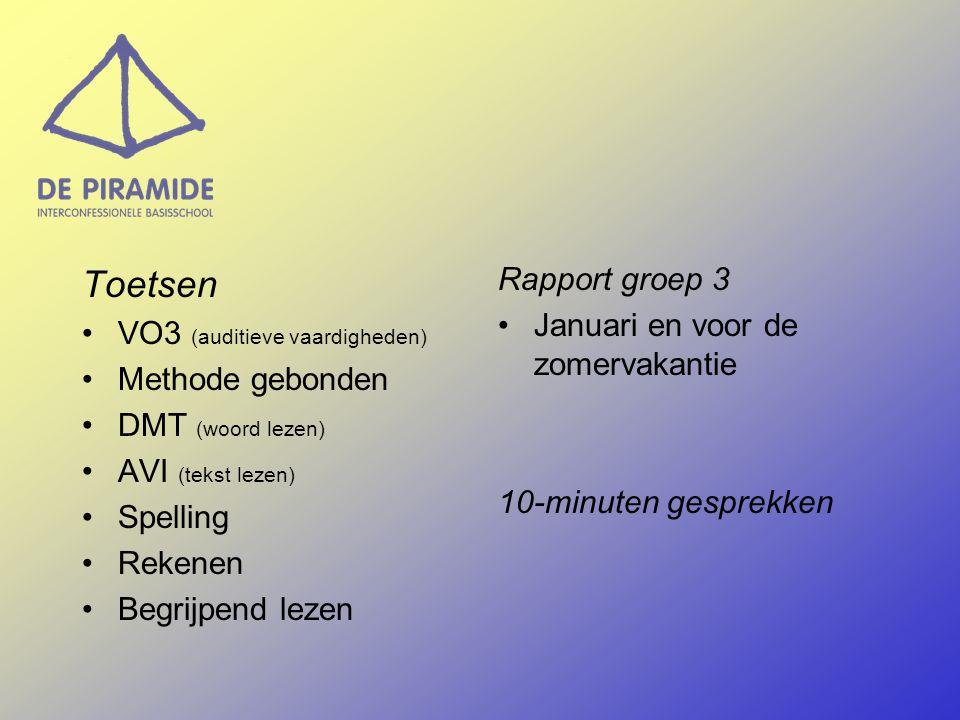 Toetsen VO3 (auditieve vaardigheden) Methode gebonden DMT (woord lezen) AVI (tekst lezen) Spelling Rekenen Begrijpend lezen Rapport groep 3 Januari en voor de zomervakantie 10-minuten gesprekken