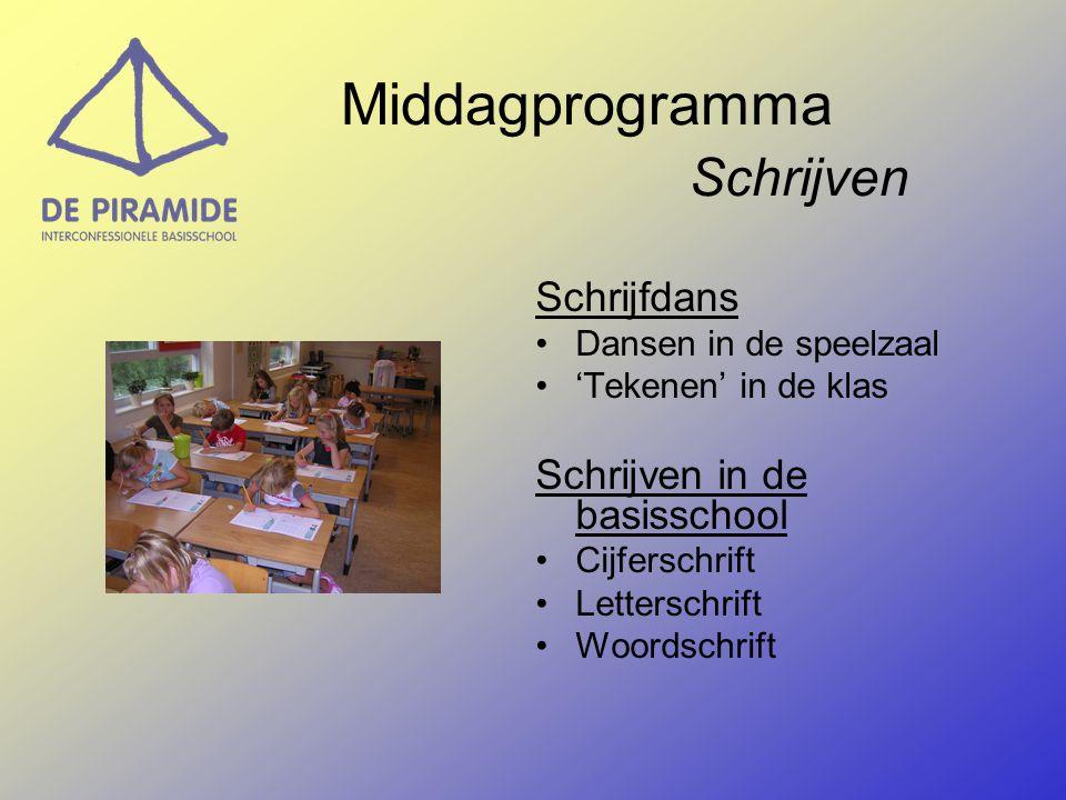 Middagprogramma Schrijven Schrijfdans Dansen in de speelzaal 'Tekenen' in de klas Schrijven in de basisschool Cijferschrift Letterschrift Woordschrift