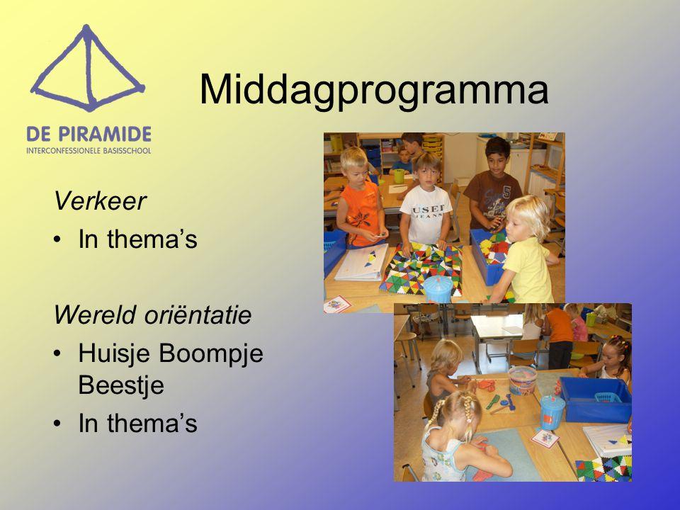 Middagprogramma Gym (Twee keer per week waarvan één spelles en één toestellenles) Thema's en projecten Handvaardigheid/ tekenen (N.a.v de thema's en projecten ) Muziek Techniek
