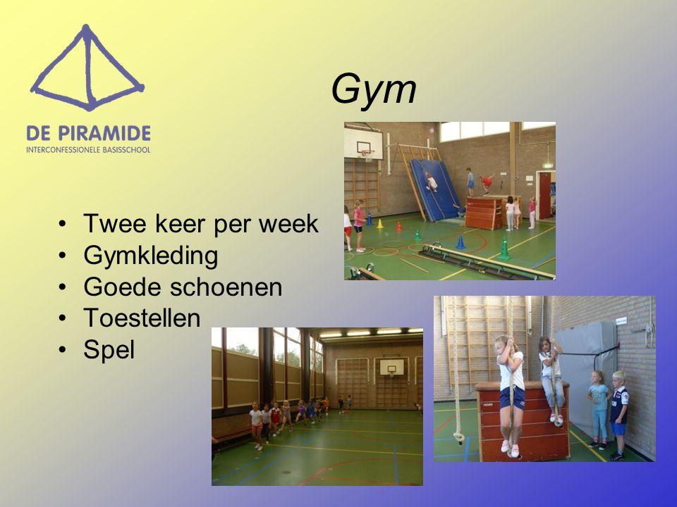 Gym Twee keer per week Gymkleding Goede schoenen Toestellen Spel