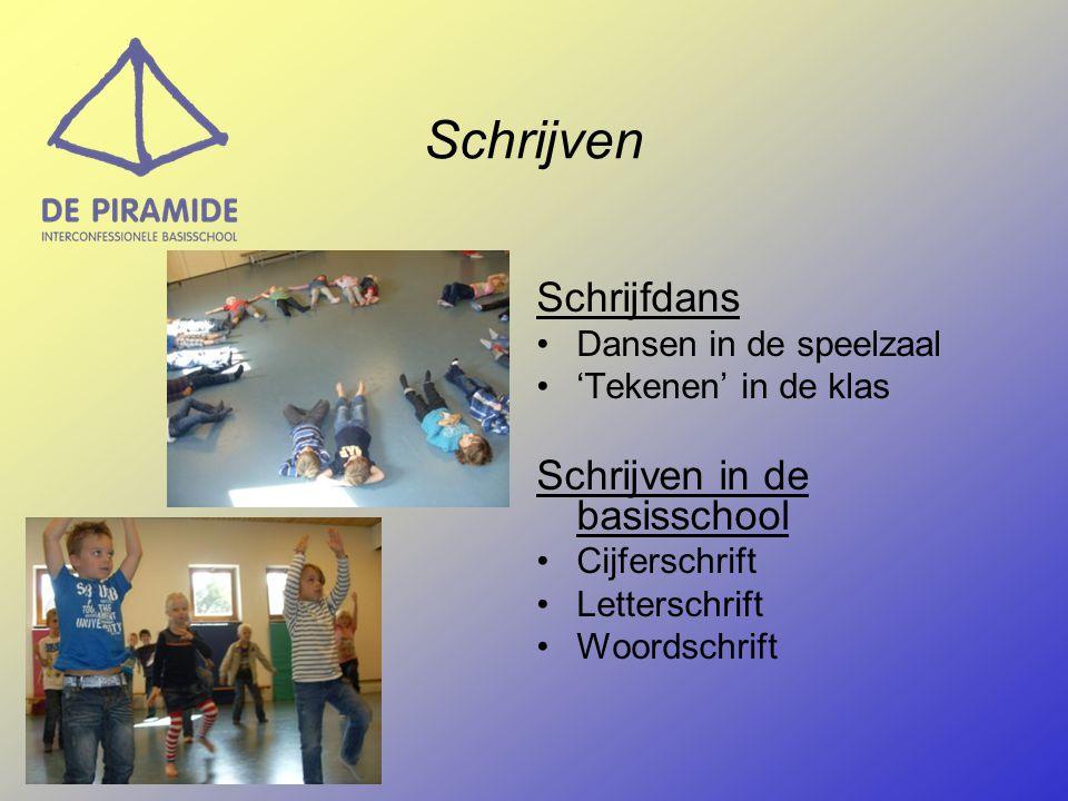 Schrijven Schrijfdans Dansen in de speelzaal 'Tekenen' in de klas Schrijven in de basisschool Cijferschrift Letterschrift Woordschrift