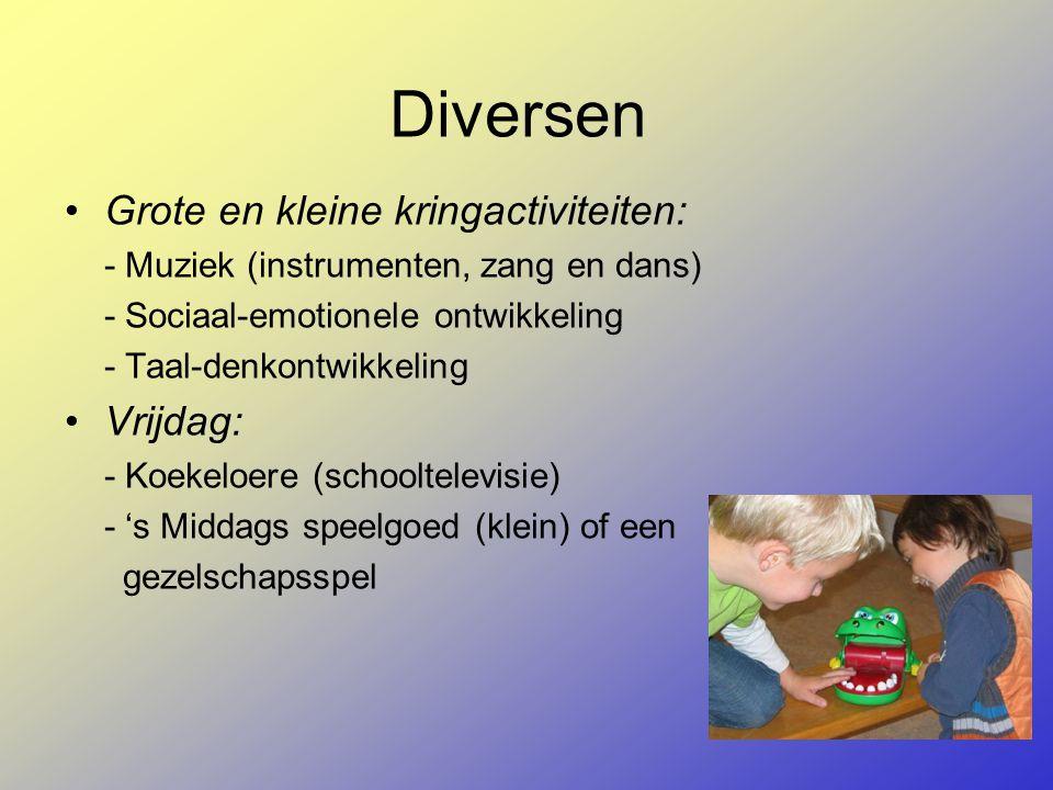 Diversen Grote en kleine kringactiviteiten: - Muziek (instrumenten, zang en dans) - Sociaal-emotionele ontwikkeling - Taal-denkontwikkeling Vrijdag: - Koekeloere (schooltelevisie) - 's Middags speelgoed (klein) of een gezelschapsspel
