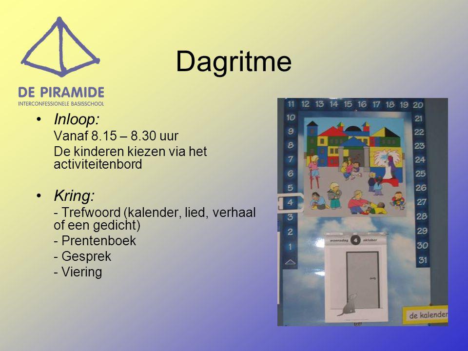 Dagritme Inloop: Vanaf 8.15 – 8.30 uur De kinderen kiezen via het activiteitenbord Kring: - Trefwoord (kalender, lied, verhaal of een gedicht) - Prentenboek - Gesprek - Viering