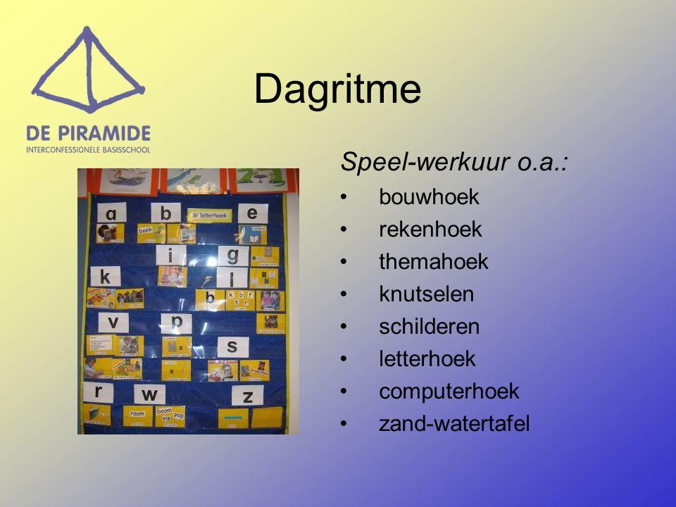 Speel-werkuur o.a.: bouwhoek rekenhoek themahoek knutselen schilderen letterhoek computerhoek zand-watertafel Dagritme