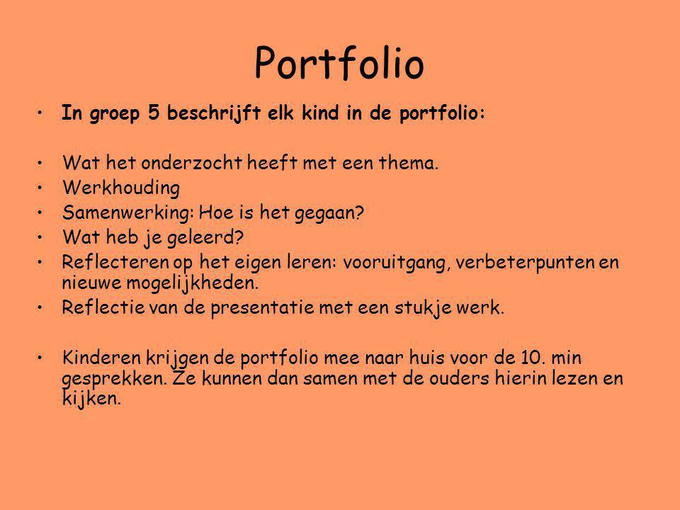 Portfolio In groep 5 beschrijft elk kind in de portfolio: Wat het onderzocht heeft met een thema. Werkhouding Samenwerking: Hoe is het gegaan? Wat heb