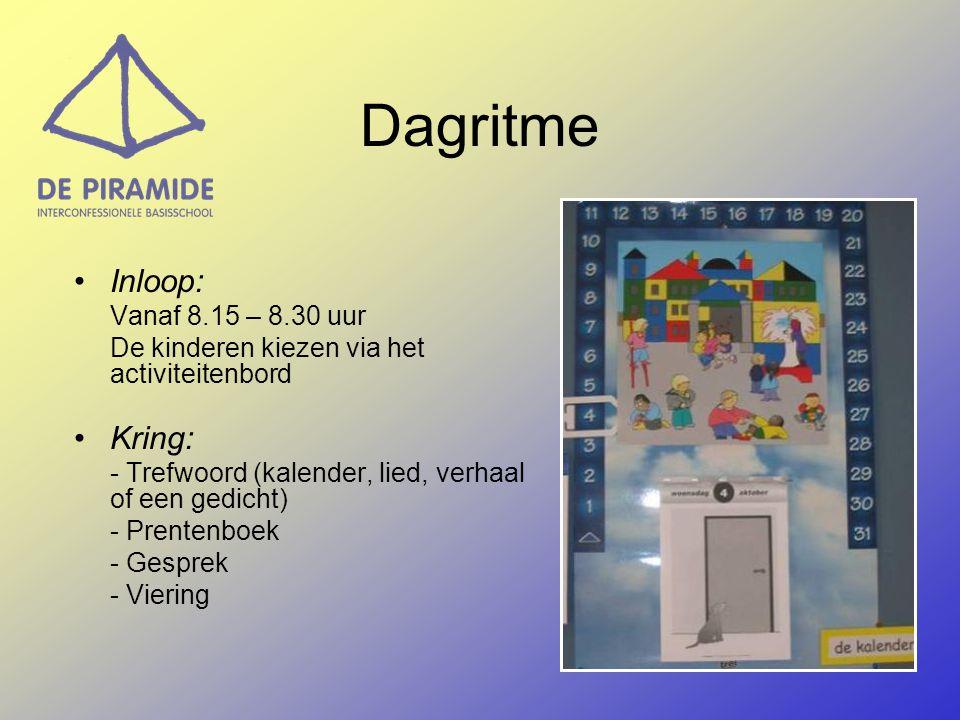 Dagritme Inloop: Vanaf 8.15 – 8.30 uur De kinderen kiezen via het activiteitenbord Kring: - Trefwoord (kalender, lied, verhaal of een gedicht) - Prent