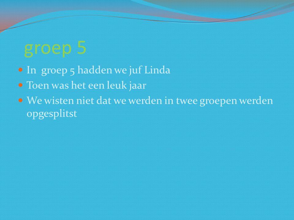 groep 5 In groep 5 hadden we juf Linda Toen was het een leuk jaar We wisten niet dat we werden in twee groepen werden opgesplitst