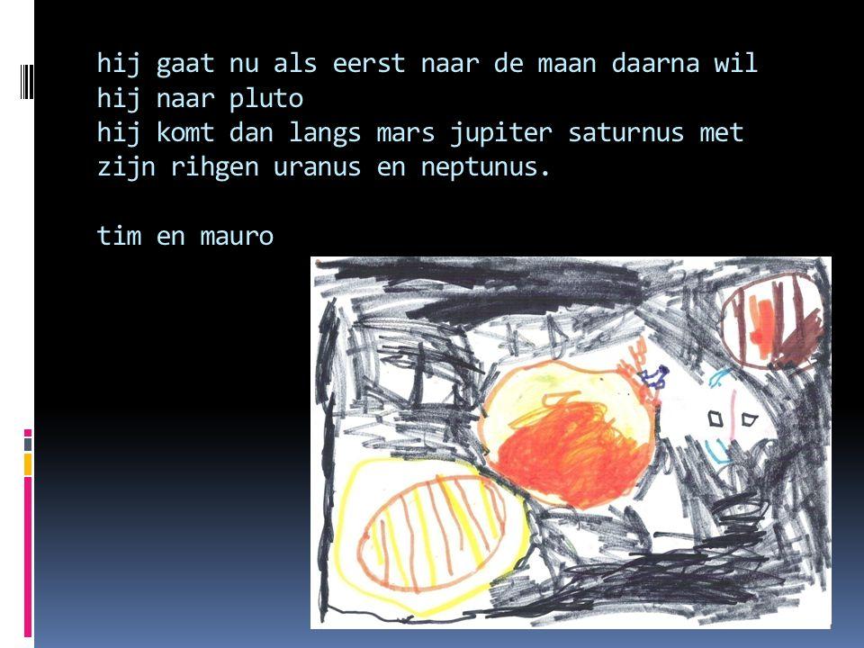 hij gaat nu als eerst naar de maan daarna wil hij naar pluto hij komt dan langs mars jupiter saturnus met zijn rihgen uranus en neptunus.