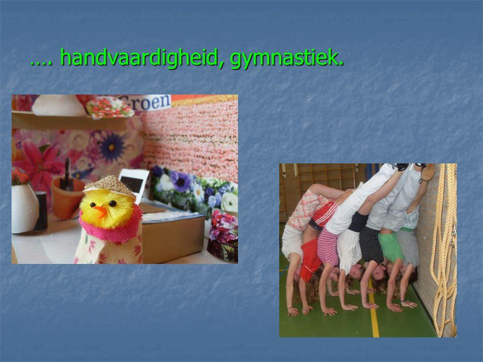 …. handvaardigheid, gymnastiek.