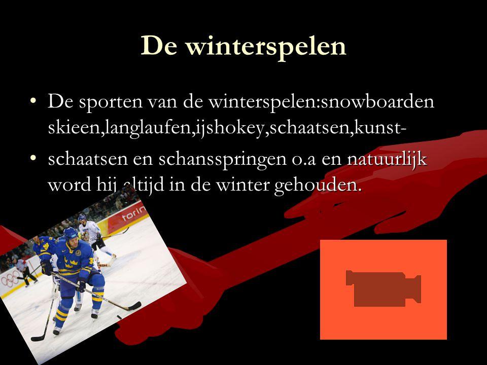 De winterspelen De sporten van de winterspelen:snowboarden skieen,langlaufen,ijshokey,schaatsen,kunst-De sporten van de winterspelen:snowboarden skiee