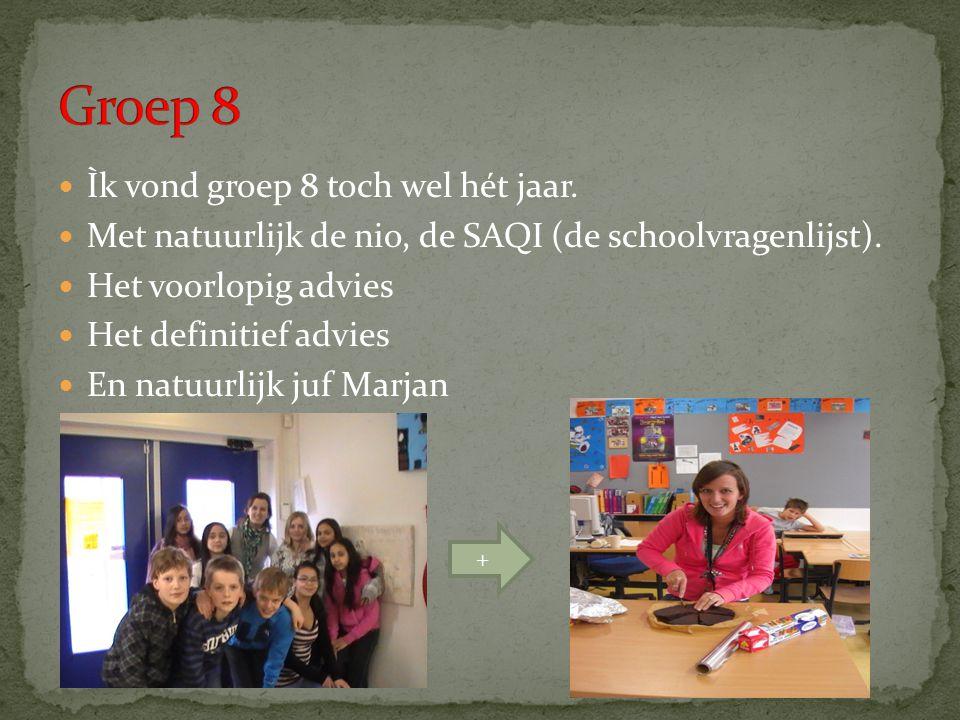 Ìk vond groep 8 toch wel hét jaar.Met natuurlijk de nio, de SAQI (de schoolvragenlijst).