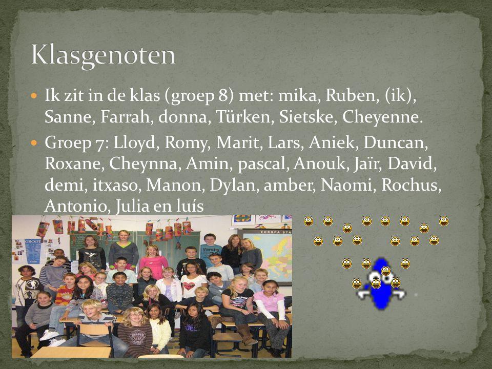 Ik zit in de klas (groep 8) met: mika, Ruben, (ik), Sanne, Farrah, donna, Türken, Sietske, Cheyenne.