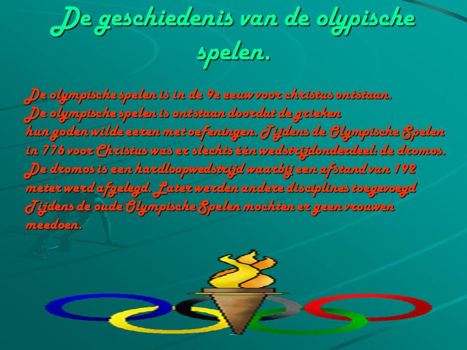 Inhoud: Hoofdstuk 1: de geschidenis van de olympische spelen. Hoofdstuk 2:alle sporten van de olympische spelen. Hoofdstuk 3:spelers van de olypische
