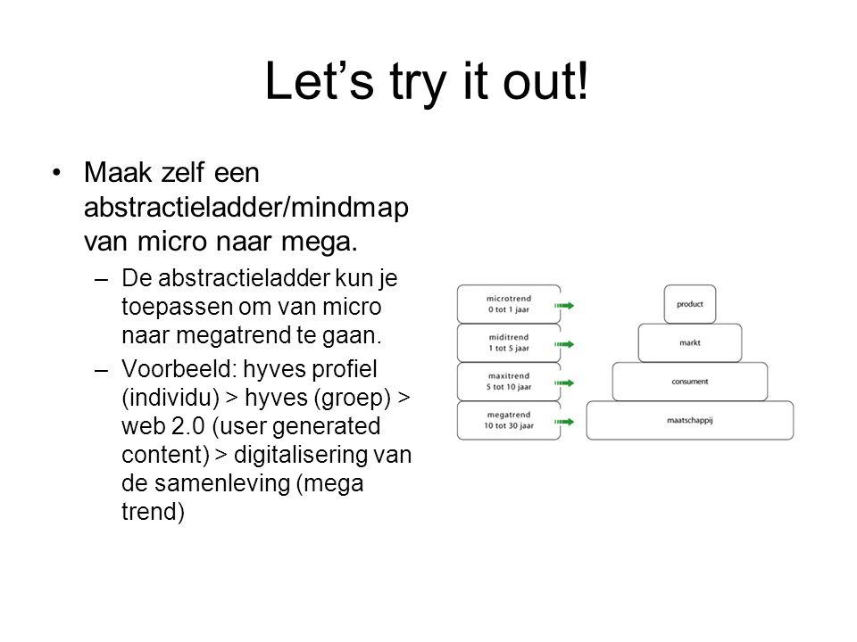 Let's try it out. Maak zelf een abstractieladder/mindmap van micro naar mega.