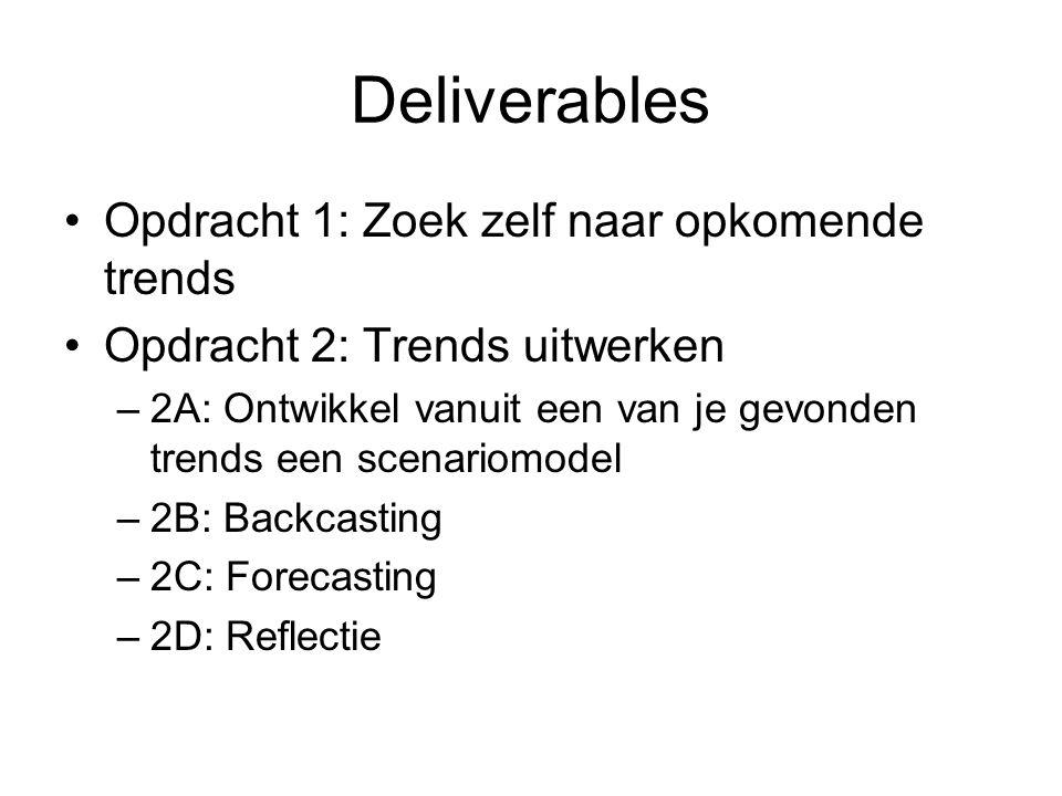 Deliverables Opdracht 1: Zoek zelf naar opkomende trends Opdracht 2: Trends uitwerken –2A: Ontwikkel vanuit een van je gevonden trends een scenariomodel –2B: Backcasting –2C: Forecasting –2D: Reflectie