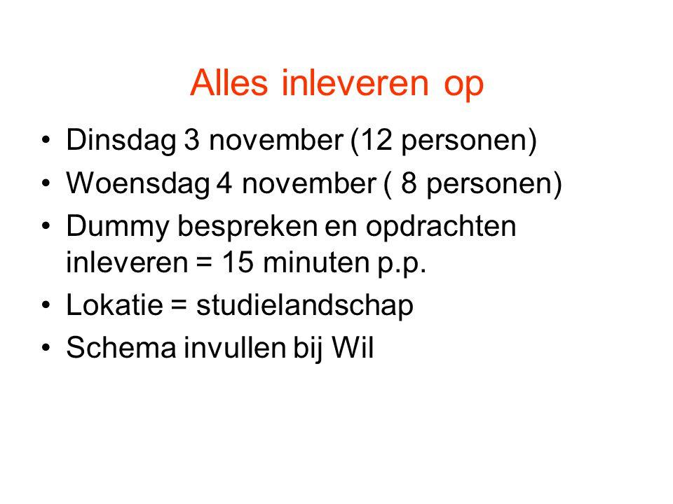 Alles inleveren op Dinsdag 3 november (12 personen) Woensdag 4 november ( 8 personen) Dummy bespreken en opdrachten inleveren = 15 minuten p.p.