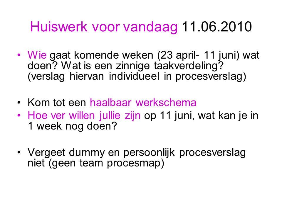 Huiswerk voor vandaag 11.06.2010 Wie gaat komende weken (23 april- 11 juni) wat doen.