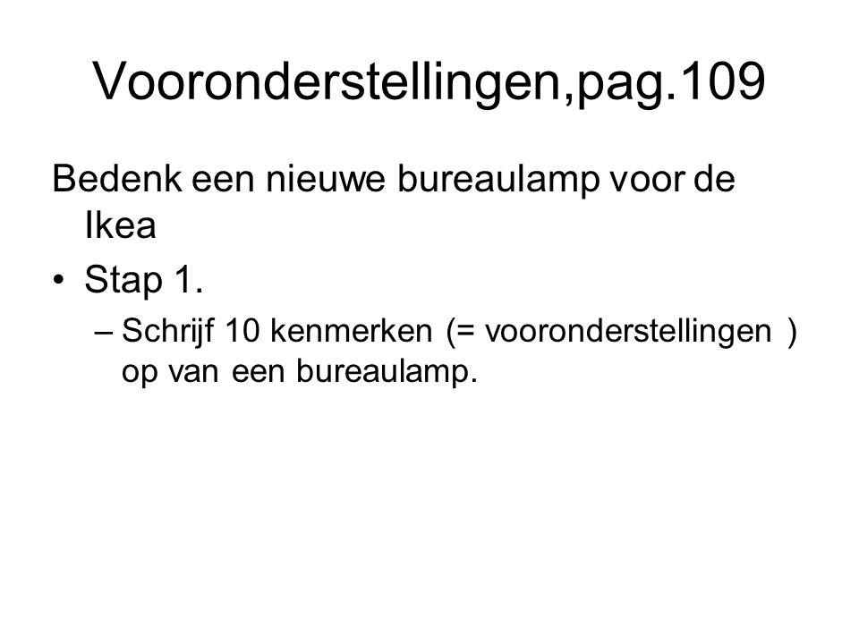 Vooronderstellingen,pag.109 Bedenk een nieuwe bureaulamp voor de Ikea Stap 1. –Schrijf 10 kenmerken (= vooronderstellingen ) op van een bureaulamp.