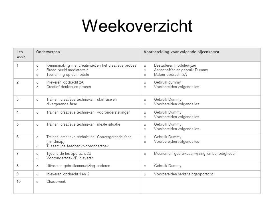 Weekoverzicht Les week OnderwerpenVoorbereiding voor volgende bijeenkomst 1 o Kennismaking met creativiteit en het creatieve proces o Breed beeld medi