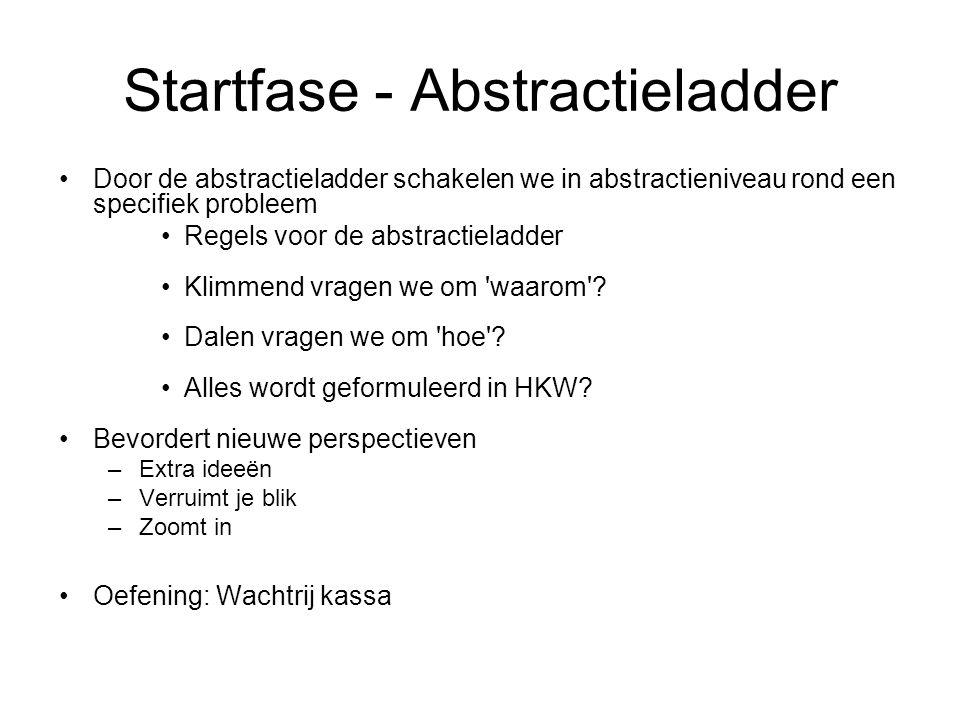Startfase - Abstractieladder Door de abstractieladder schakelen we in abstractieniveau rond een specifiek probleem Regels voor de abstractieladder Kli