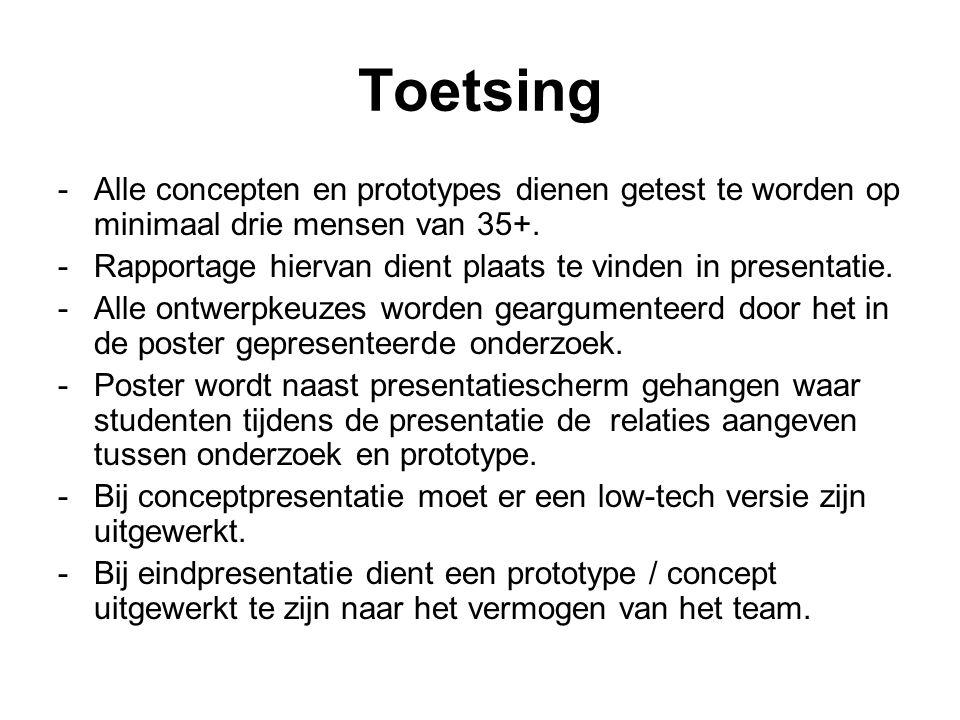 Toetsing -Alle concepten en prototypes dienen getest te worden op minimaal drie mensen van 35+.