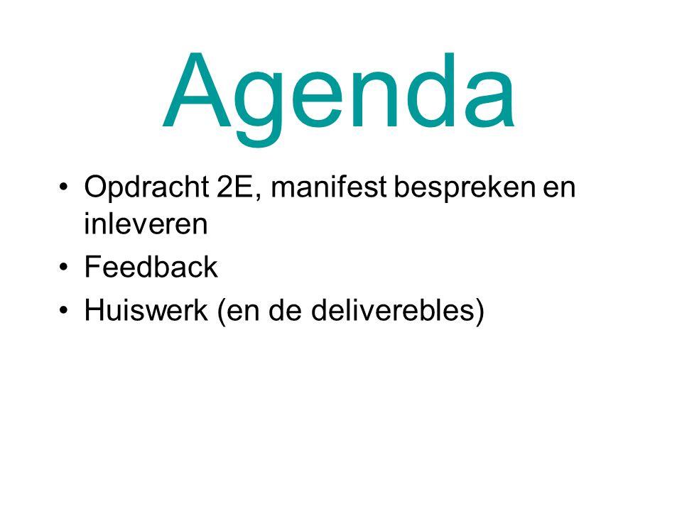 Agenda Opdracht 2E, manifest bespreken en inleveren Feedback Huiswerk (en de deliverebles)