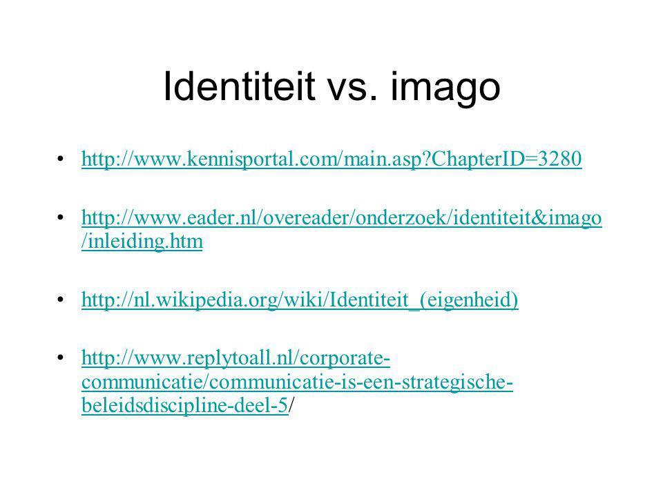 Identiteit vs. imago http://www.kennisportal.com/main.asp?ChapterID=3280 http://www.eader.nl/overeader/onderzoek/identiteit&imago /inleiding.htmhttp:/