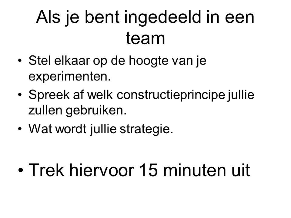Als je bent ingedeeld in een team Stel elkaar op de hoogte van je experimenten.