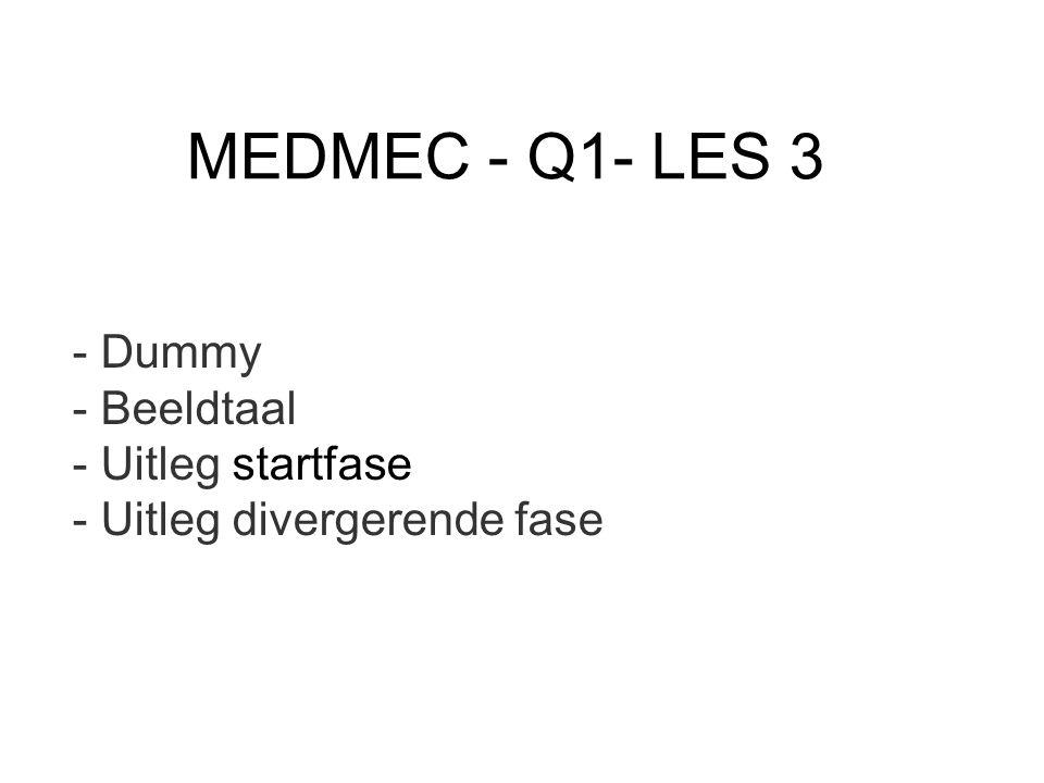 MEDMEC - Q1- LES 3 - Dummy - Beeldtaal - Uitleg startfase - Uitleg divergerende fase