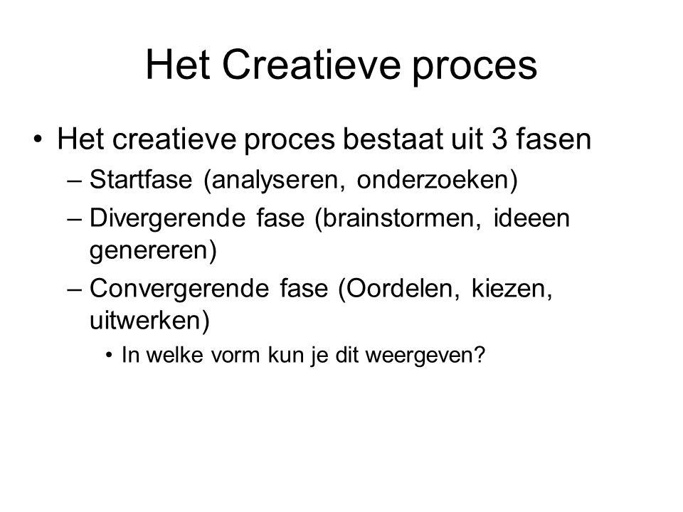 Het Creatieve proces Het creatieve proces bestaat uit 3 fasen –Startfase (analyseren, onderzoeken) –Divergerende fase (brainstormen, ideeen genereren