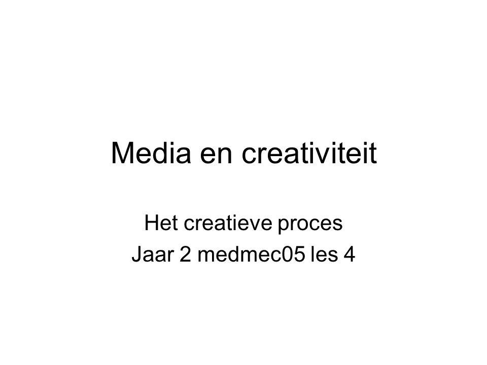 Media en creativiteit Het creatieve proces Jaar 2 medmec05 les 4