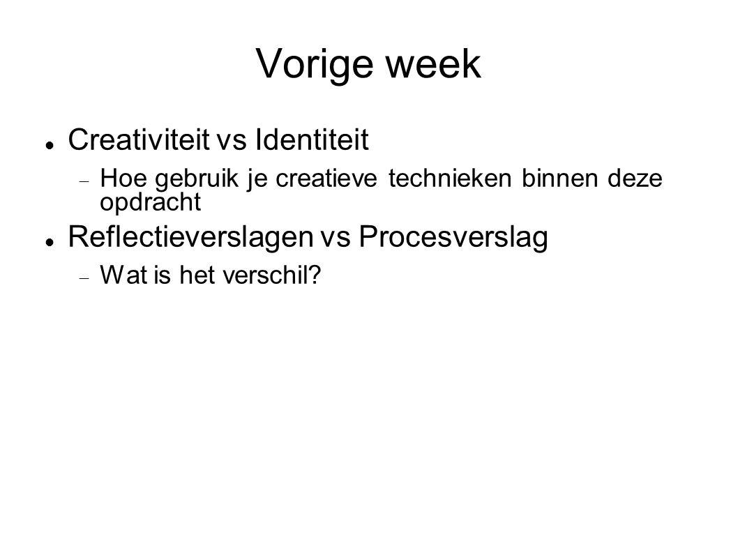 Vorige week Creativiteit vs Identiteit  Hoe gebruik je creatieve technieken binnen deze opdracht Reflectieverslagen vs Procesverslag  Wat is het verschil