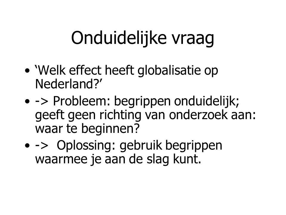 Onduidelijke vraag 'Welk effect heeft globalisatie op Nederland?' -> Probleem: begrippen onduidelijk; geeft geen richting van onderzoek aan: waar te b