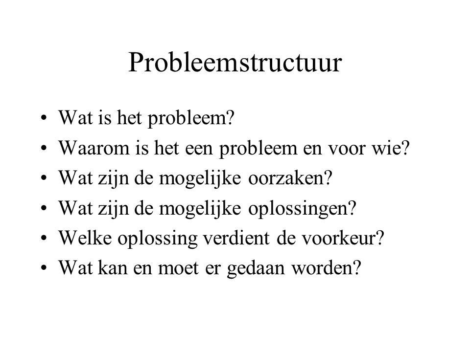 Probleemstructuur Wat is het probleem? Waarom is het een probleem en voor wie? Wat zijn de mogelijke oorzaken? Wat zijn de mogelijke oplossingen? Welk