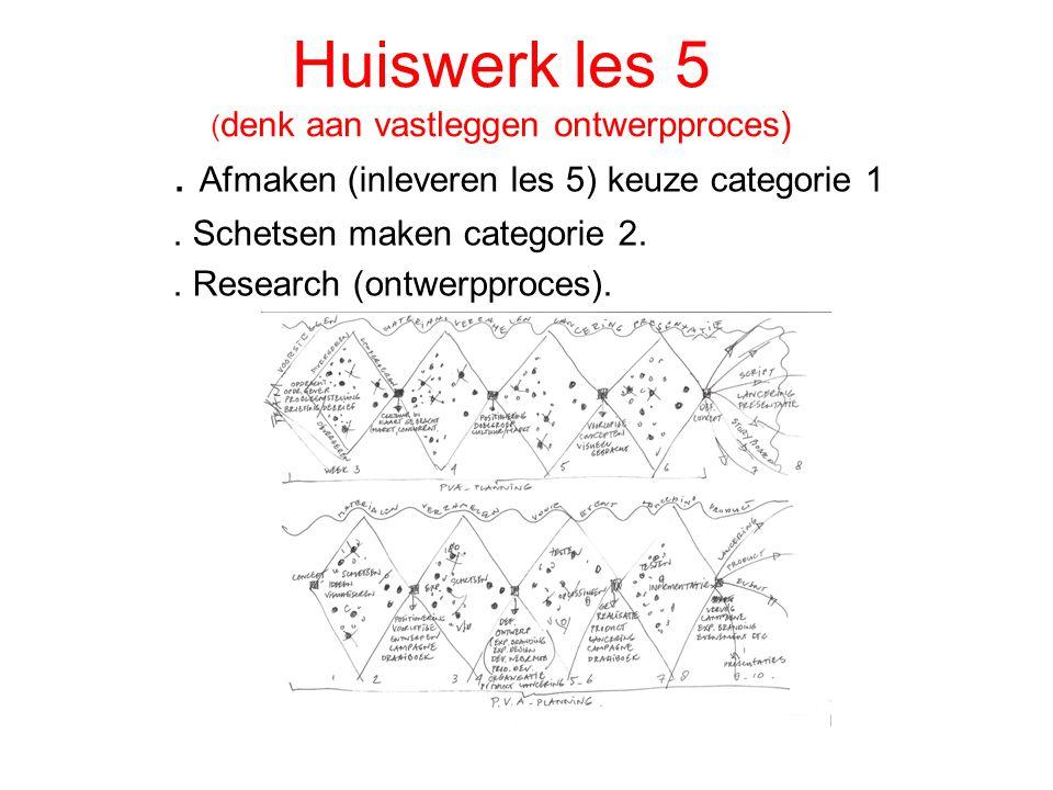 Huiswerk les 5 ( denk aan vastleggen ontwerpproces). Afmaken (inleveren les 5) keuze categorie 1. Schetsen maken categorie 2.. Research (ontwerpproces