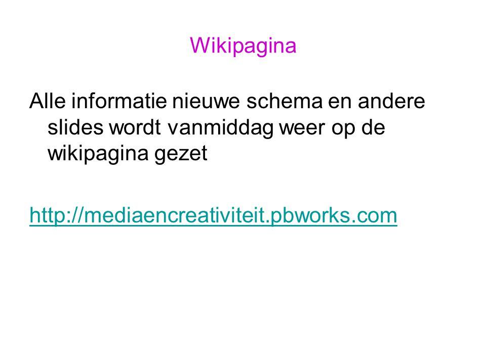 Wikipagina Alle informatie nieuwe schema en andere slides wordt vanmiddag weer op de wikipagina gezet http://mediaencreativiteit.pbworks.com