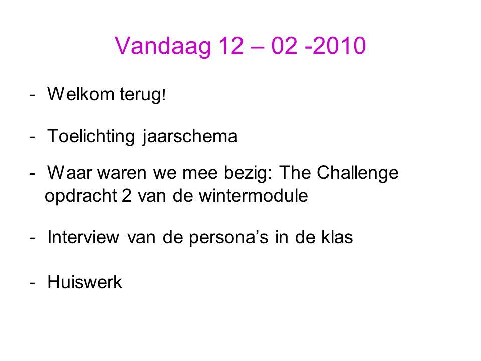 Vandaag 12 – 02 -2010 -Welkom terug ! -Toelichting jaarschema -Waar waren we mee bezig: The Challenge opdracht 2 van de wintermodule -Interview van de