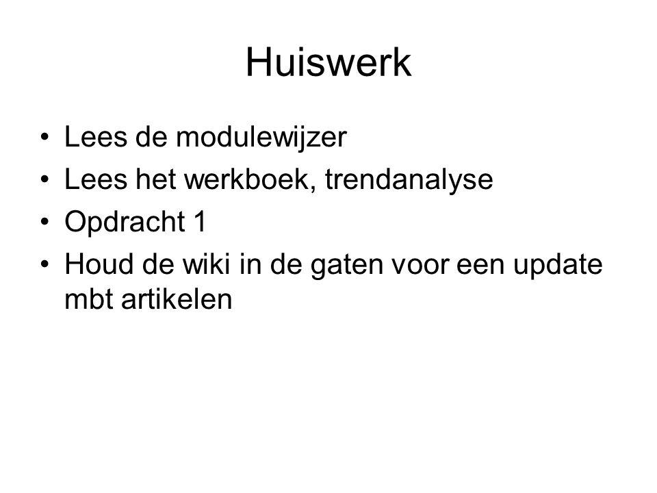 Huiswerk Lees de modulewijzer Lees het werkboek, trendanalyse Opdracht 1 Houd de wiki in de gaten voor een update mbt artikelen