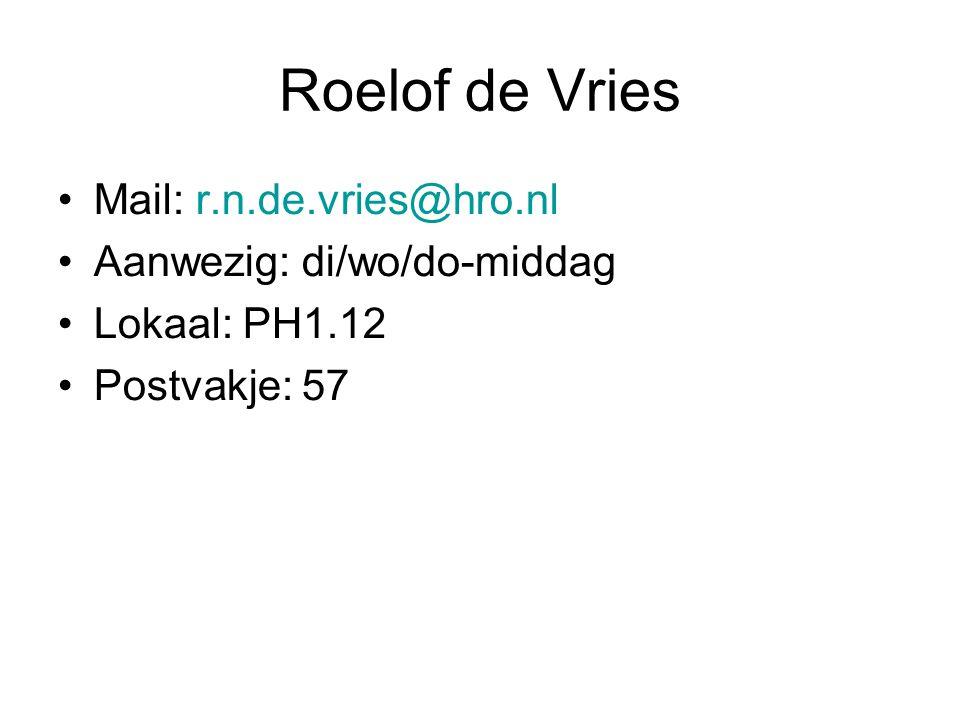 Roelof de Vries Mail: r.n.de.vries@hro.nl Aanwezig: di/wo/do-middag Lokaal: PH1.12 Postvakje: 57